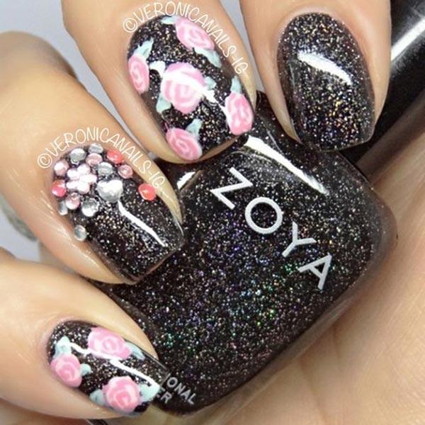roses rhinestones black shimmer nails