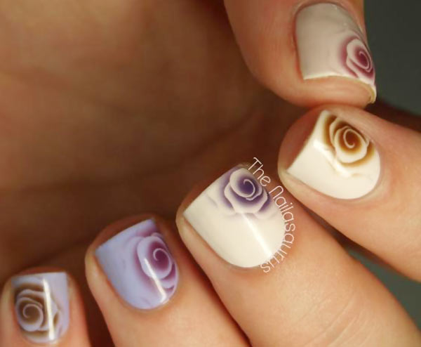 roses water decals romantic nails