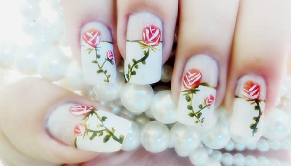 roses white bridal french nails