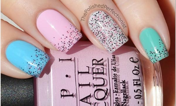 salt and pepper accent pastel nails