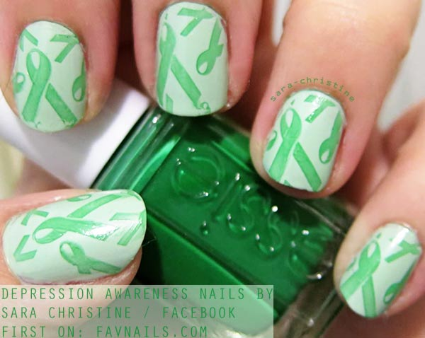 depression awareness green stamped nails