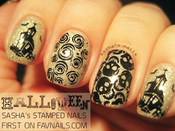 black stamped gold halloween nails