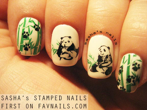 cute bamboo panda stamped nails