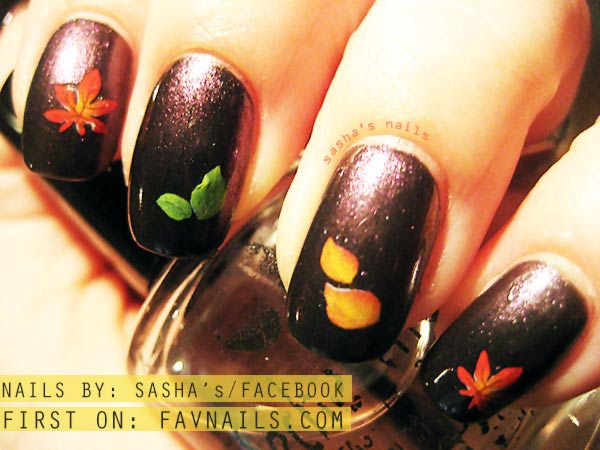 sashas duochrome leaves decals fall nails