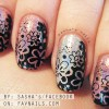 flowers stamped gorgeous holo nails