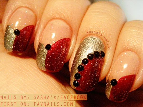 black appliques gold red french shimmer nails