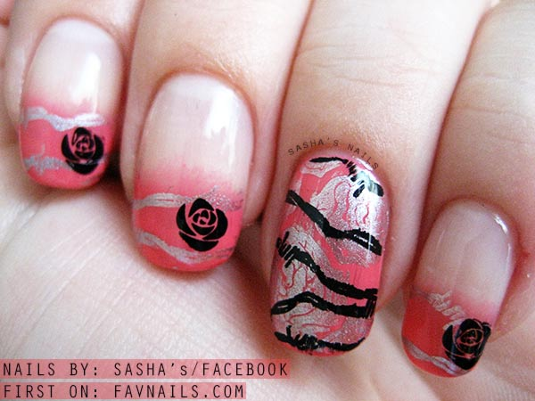 gradient wired roses stamped coral nails