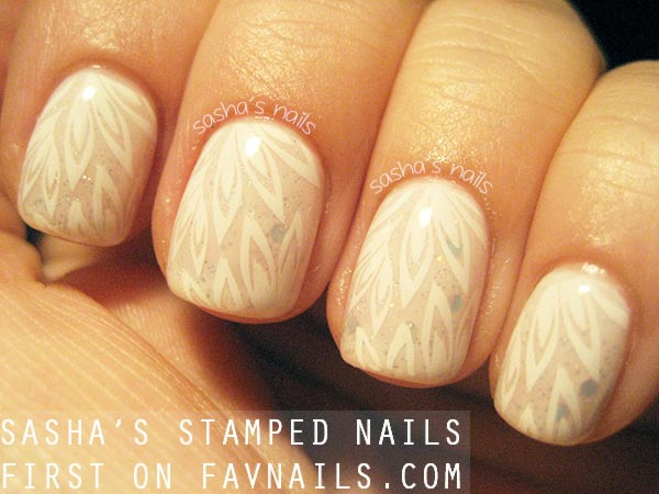 lovely cream jelly subtle stamped nails