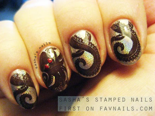 octopus stamped nails