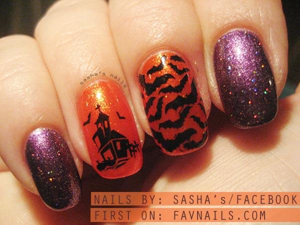 purple orange stamped halloween naiils