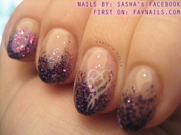 purple pink glitter dipped fabulous nails