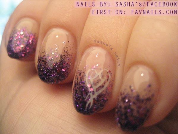 purple pink glitter dipped fabulous nails