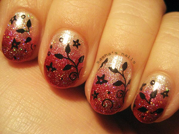 red glitter gradient stamped nails