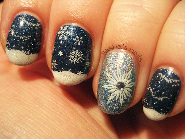snow snowflakes holo stamped winter nails