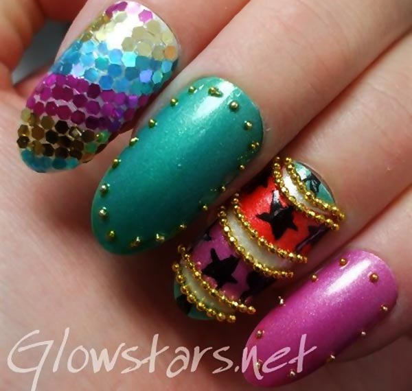 sequined carnival mardi gras nails