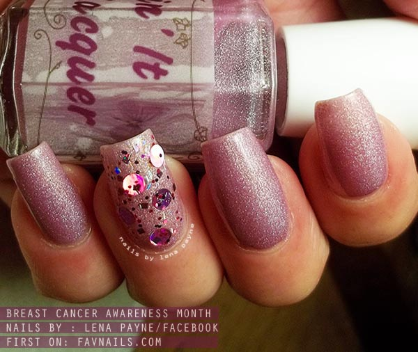 sequined sheer pink breast cancer awareness nails