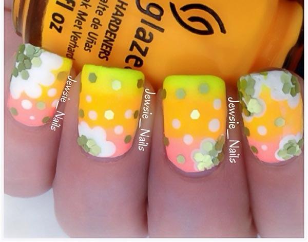 sequins flowers summer gradient nails