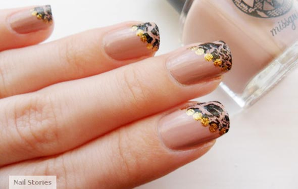 shatter tips gold dots french nails