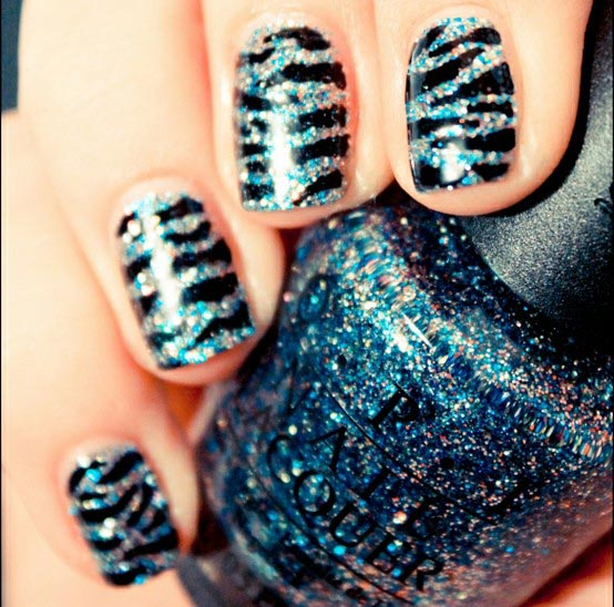 shimmer black zebra nails