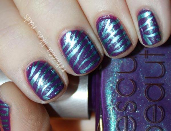 shimmer blue on purple zebra nails