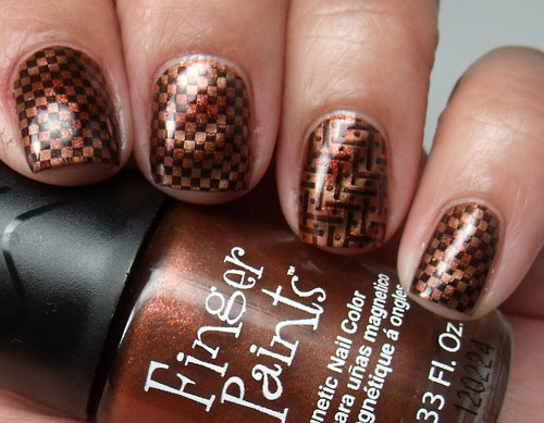 shimmer brown chess nails