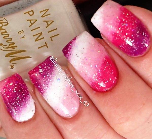 shimmer pink purple diagonal gradient nails