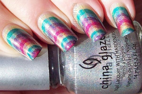 shimmer rainbow nails