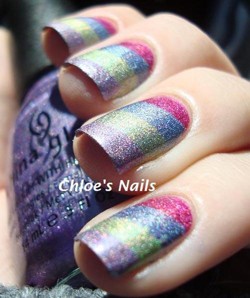 shimmer rainbow stripes nails