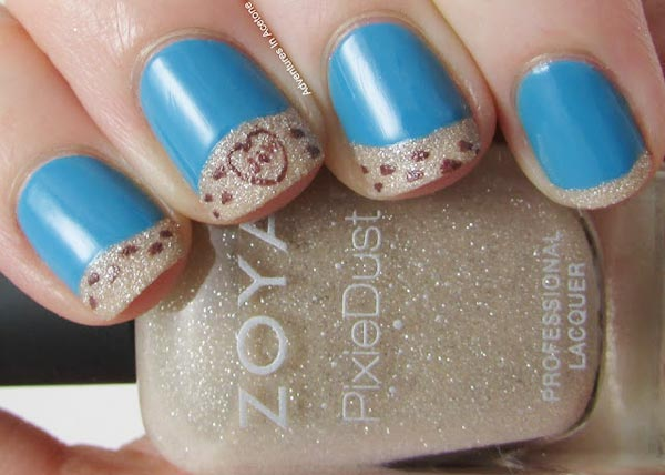 shimmer blue tips french nails