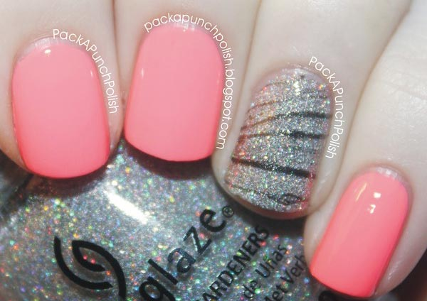 silver accent nail peach spring nails