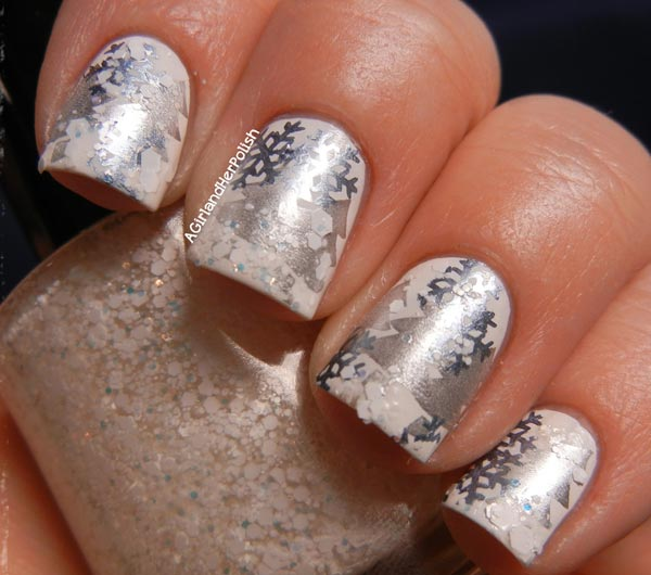 silver and white winter nails