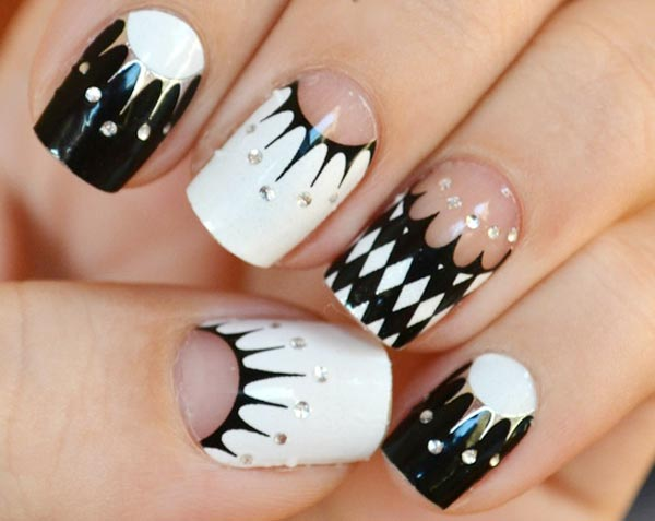 silver black and white geometry nails