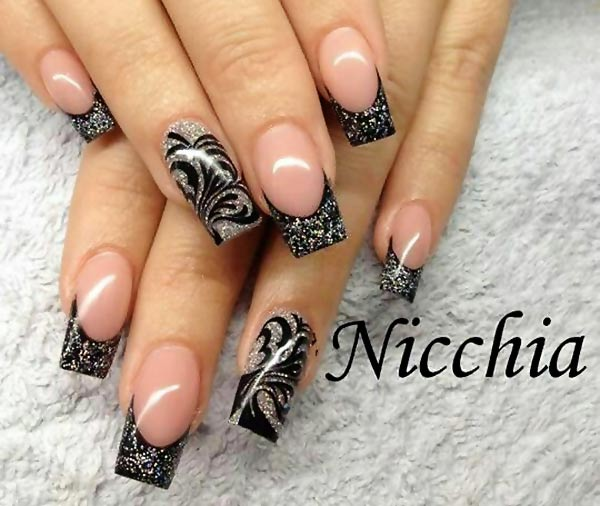 the gallery for gt black french nails with glitter