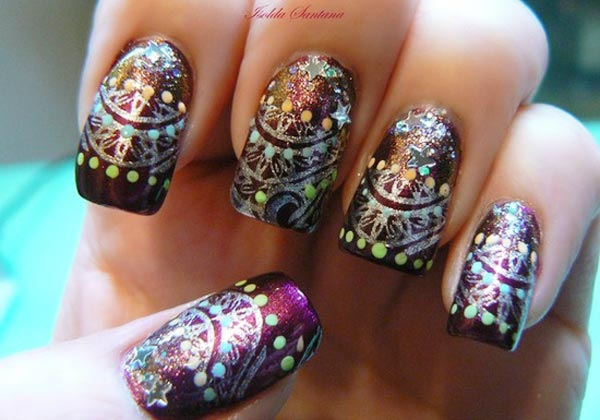 silver damask dotts stars impressive nails