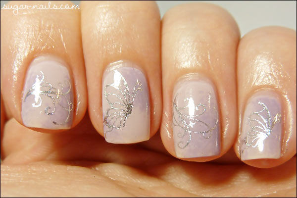 silver decals soft gradient delicate nails