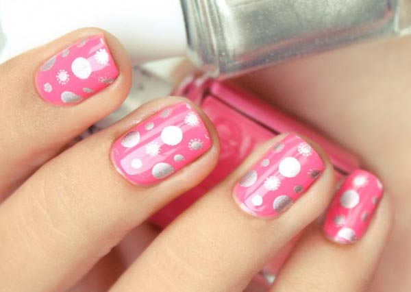 silver dots flowers on pink nails