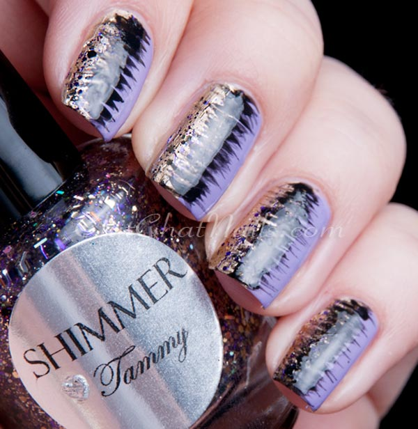 silver glitter black purple marbled nails