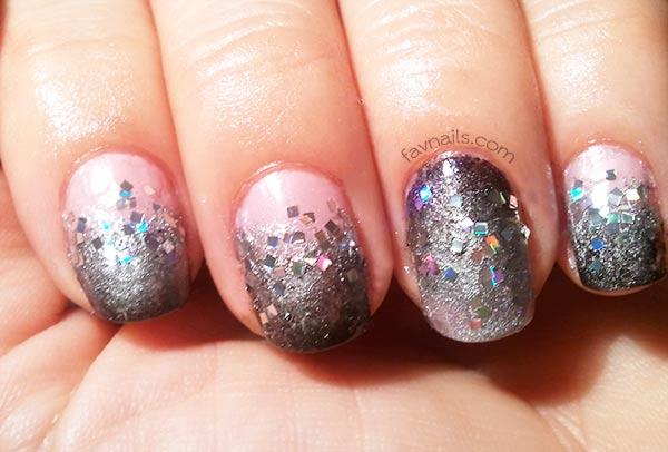 silver glitter black silver gradient nails
