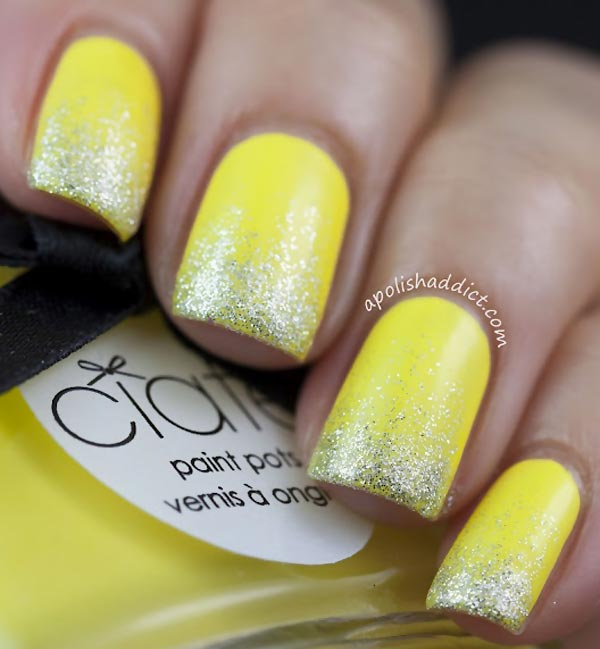 silver glitter dipped yellow spring nails