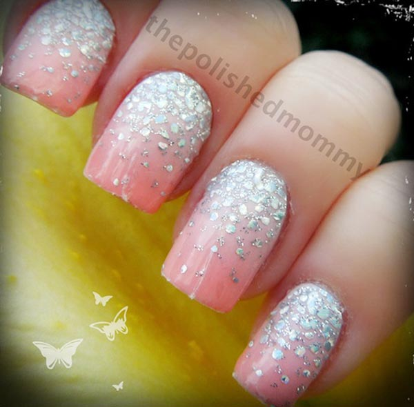 silver glitter ... French Tip Nail Designs With Glitter