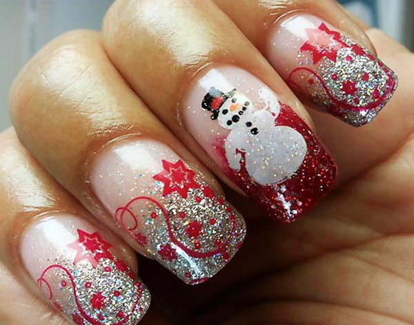 silver glitter gradient snowman christmas nails