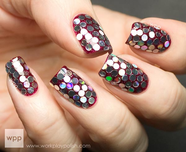 silver glitter sequined red nails