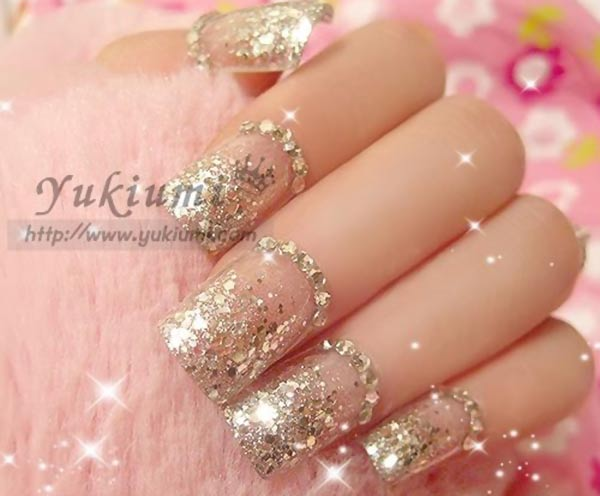 silver glitter sequins rhinestones wedding nails