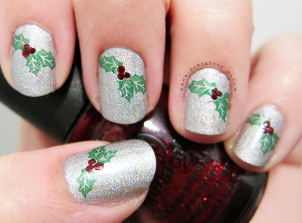 silver glitter stamped christmas nails