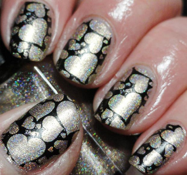 stamped silver holo hearts black nails