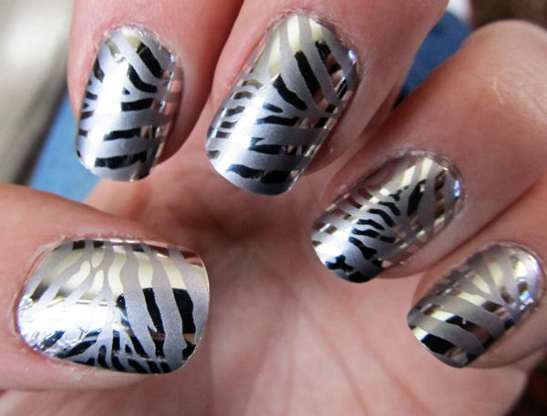 silver metallic zebra nails