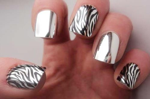 silver mirror zebra nails