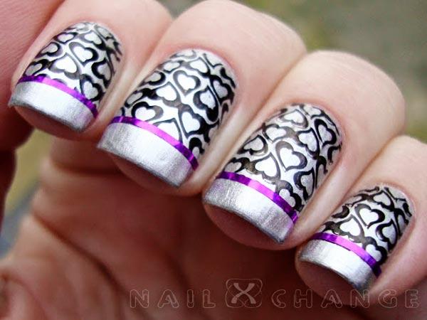 silver nails black hearts