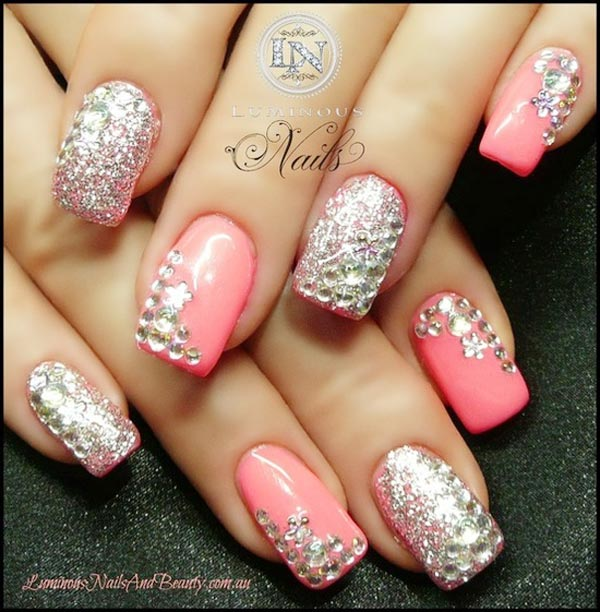 silver rhinestones on girly pink nails