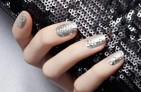 silver sequined nails